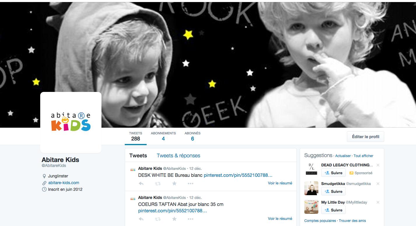 réseaux sociaux Twitter Abitare Kids