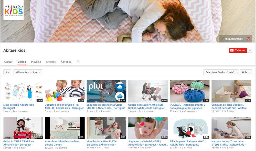 réseaux sociaux Youtube Abitare Kids