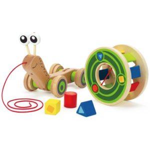 jouet à tirer enfant escargot hape
