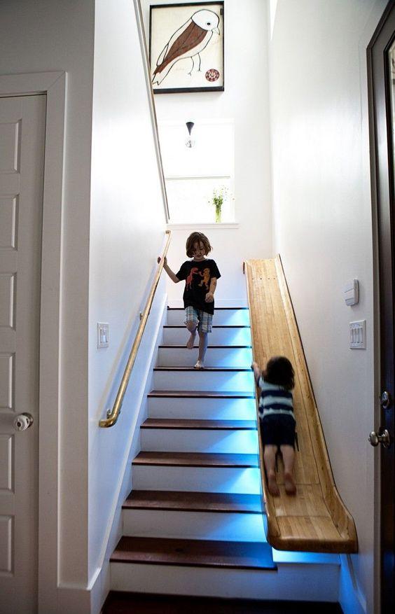 escalier toboggan en bois
