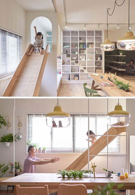 toboggan intérieur bois design