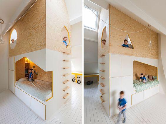 chambre partagée lits superposé cabane design